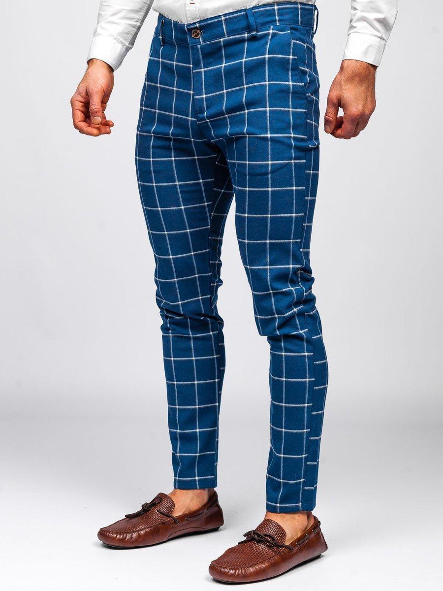 Pantaloni albastri chinos în carouri Bolf 0002 imagine