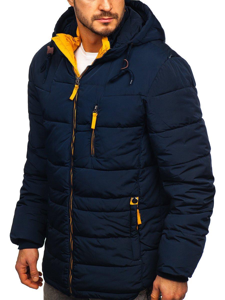 Geacă de iarnă bleumarin-galbena Bolf M72073