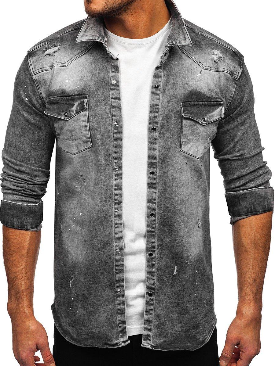 Cămașă de blugi gri Bolf R711
