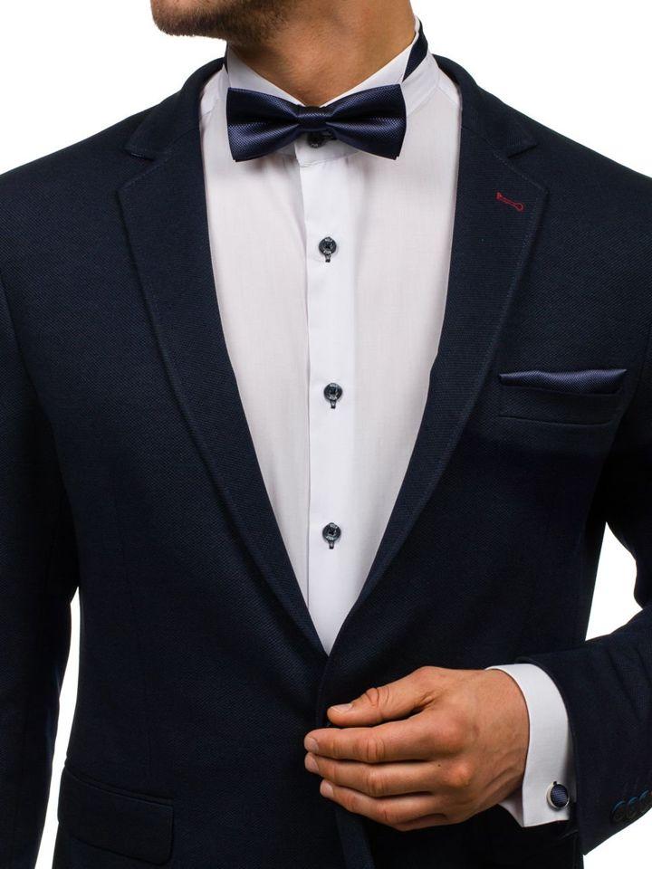 Set pentru bărbat papion, butoni, batistă albastru-cerneală Bolf MSP01 imagine