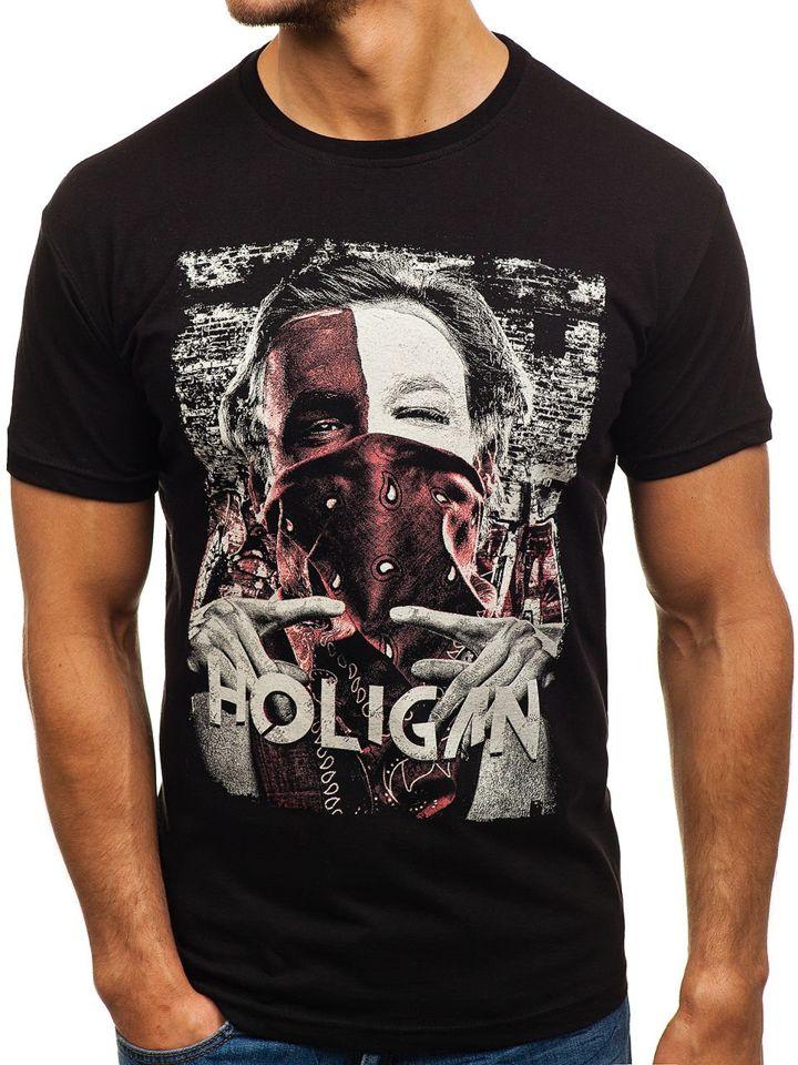 T-shirt pentru bărbat cu imprimeu negru Bolf 006