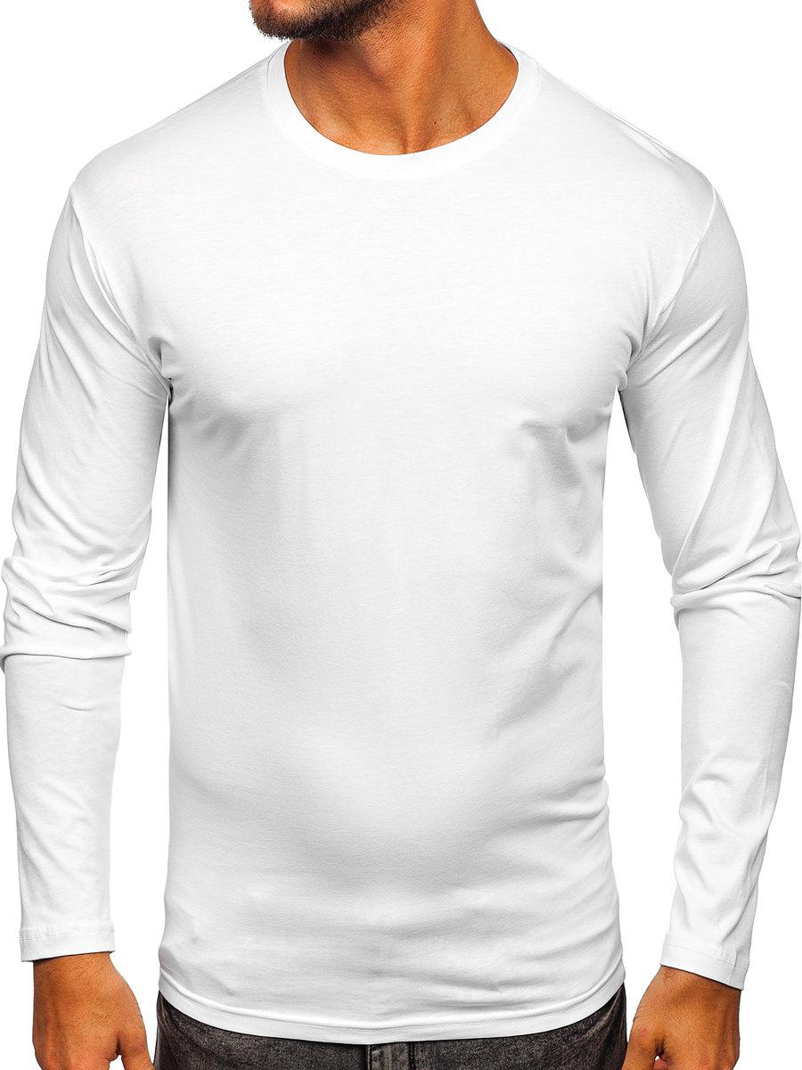 Long sleeve fără imprimeu pentru bărbat alb Bolf 1209 imagine