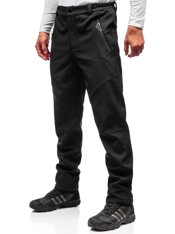 Pantaloni trekking tip softshell bărbați negru-galben Bolf 5454