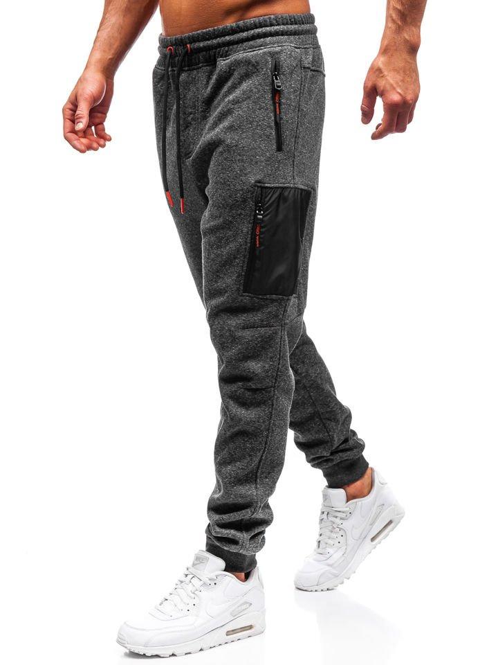 Pantaloni de trening bărbați gri-portocaliu Bolf Q3768