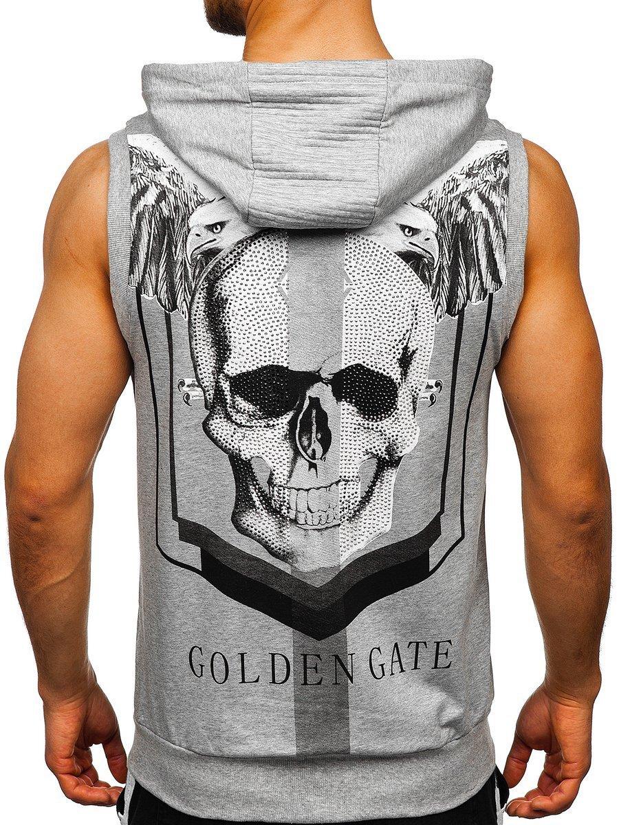 Tricou gri cu imprimeu bărbati Bolf KS7362
