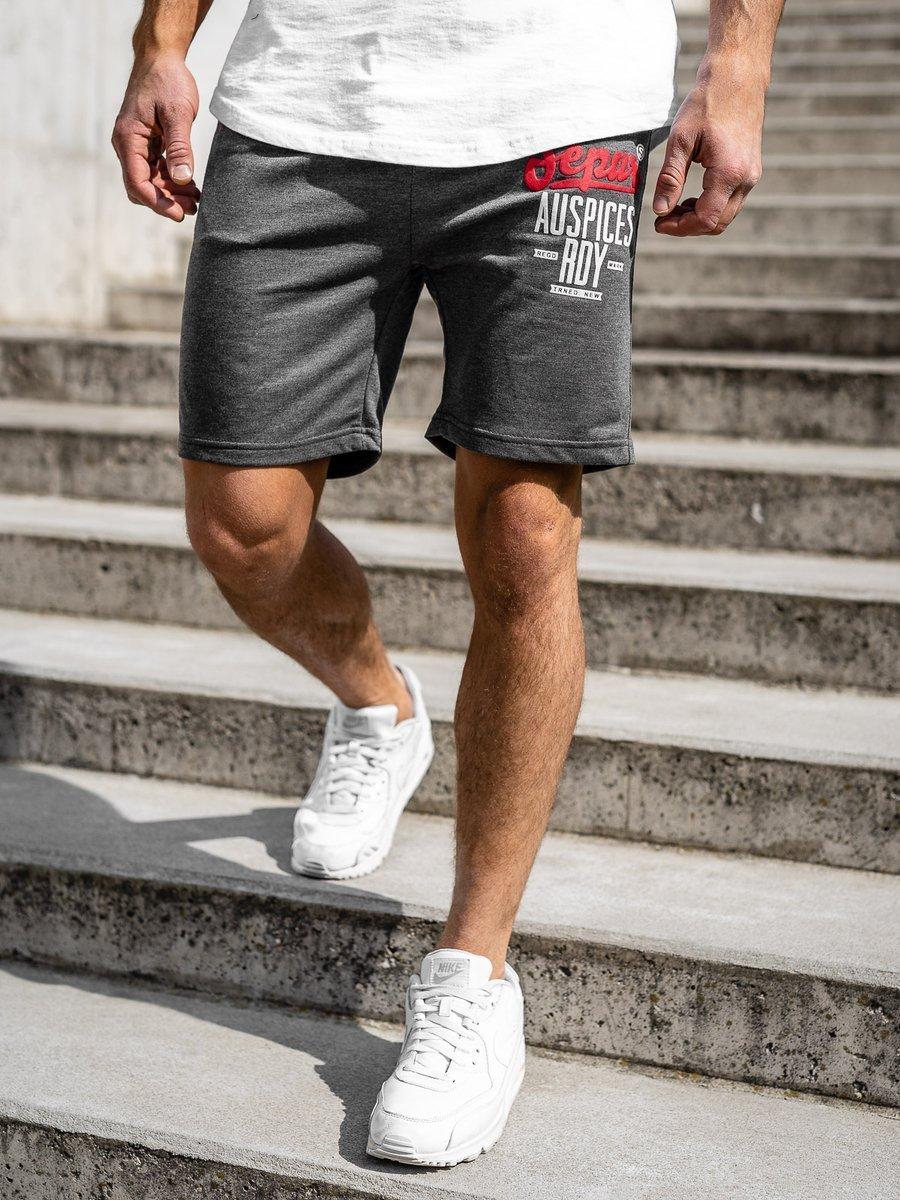 Pantaloni scurți sportivi pentru bărbat grafit Bolf EX07 imagine