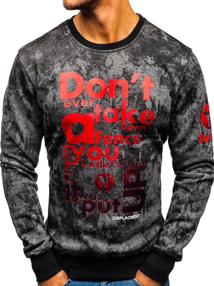 Bluză bărbați fără glugă cu imprimeu grafit Bolf DD677-A