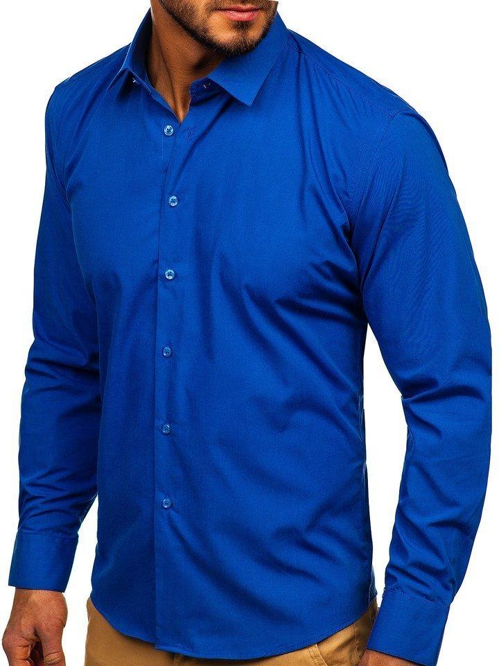 Cămașă elegantă bărbați albastru Bolf 0001 imagine