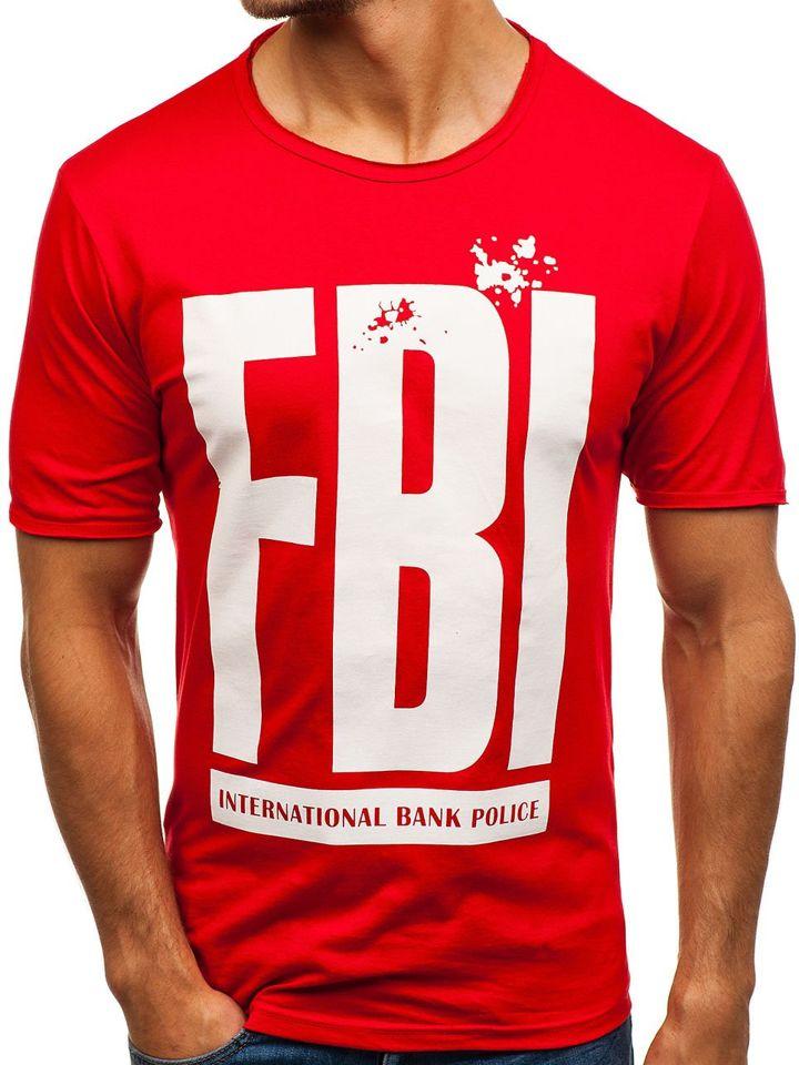 T-shirt pentru bărbat cu imprimeu roșu Bolf 6295