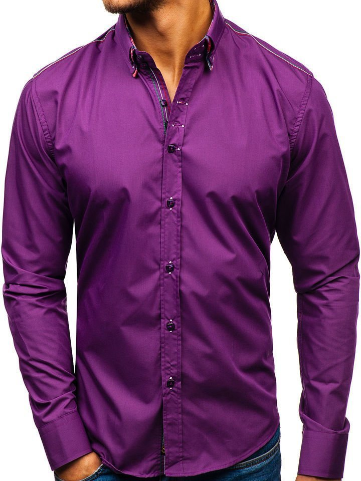 Cămașă elegantă pentru bărbat cu mâneca lungă violet Bolf 2705