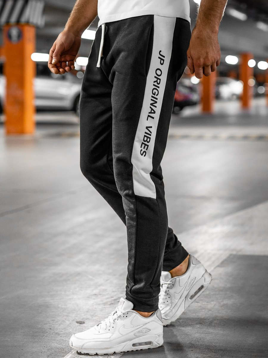 Pantaloni de trening negri Bolf N1216