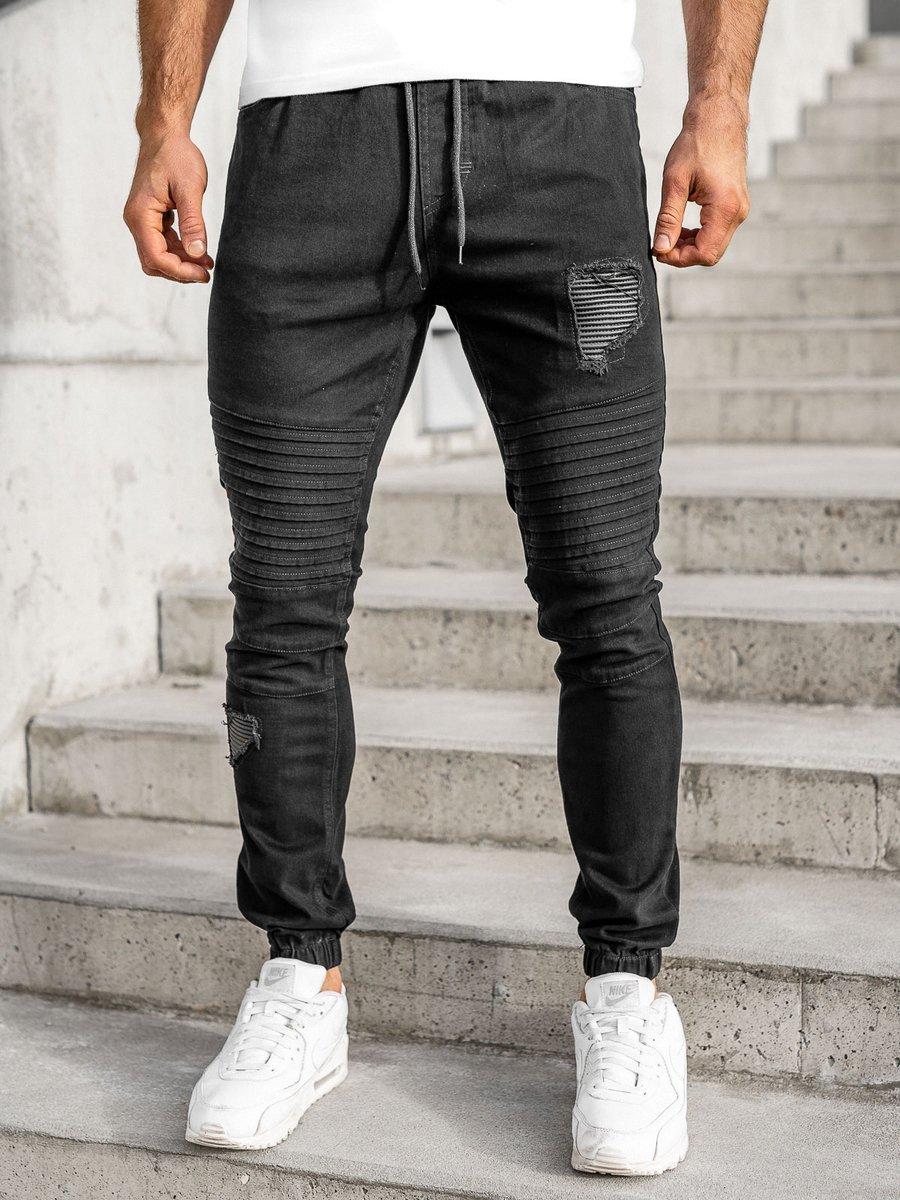 Pantaloni joggers negri Bolf 0829