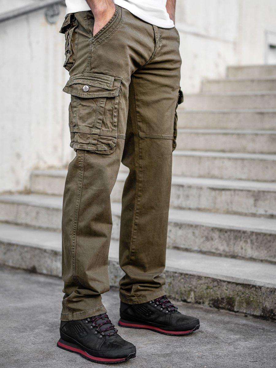Pantaloni kaki cargo cu curea Bolf CT8903