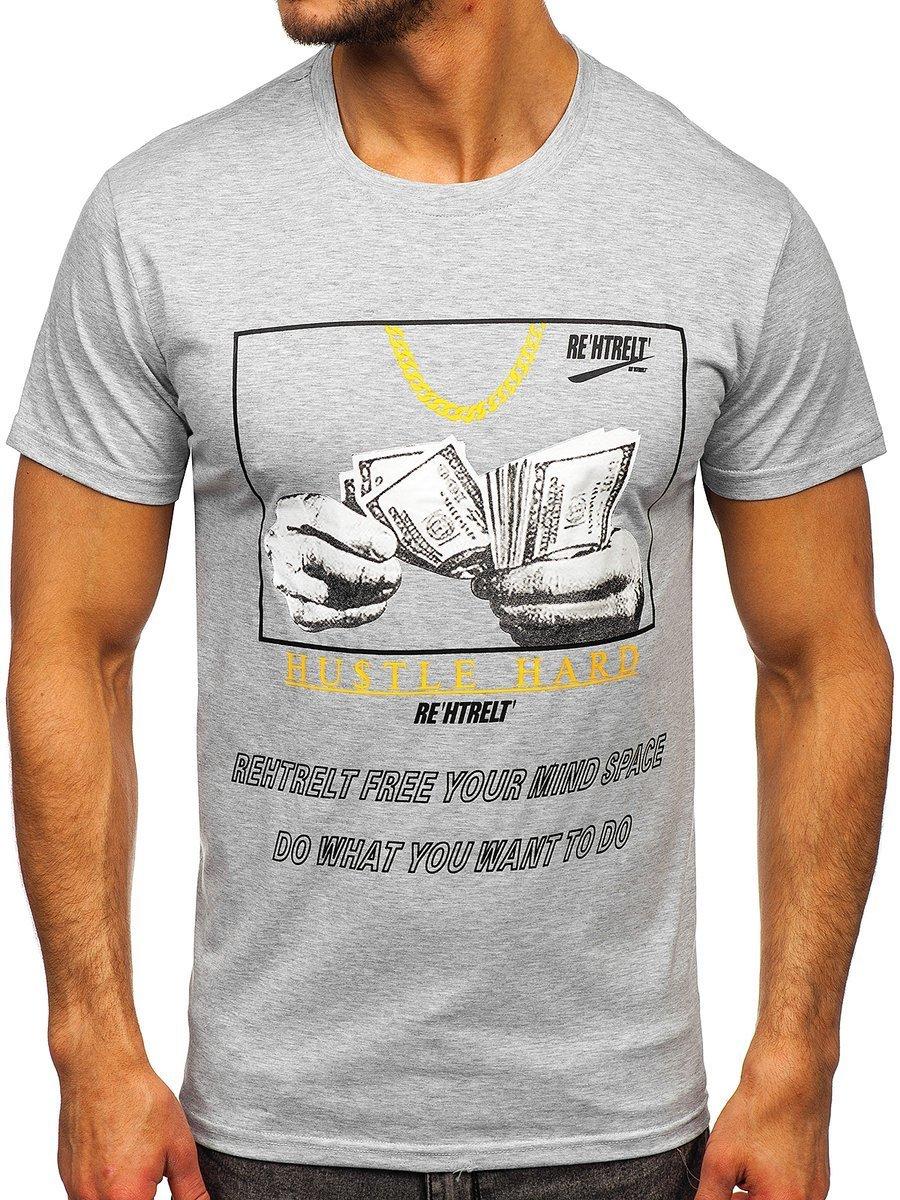 Tricou gri cu imprimeu Bolf KS2538 imagine