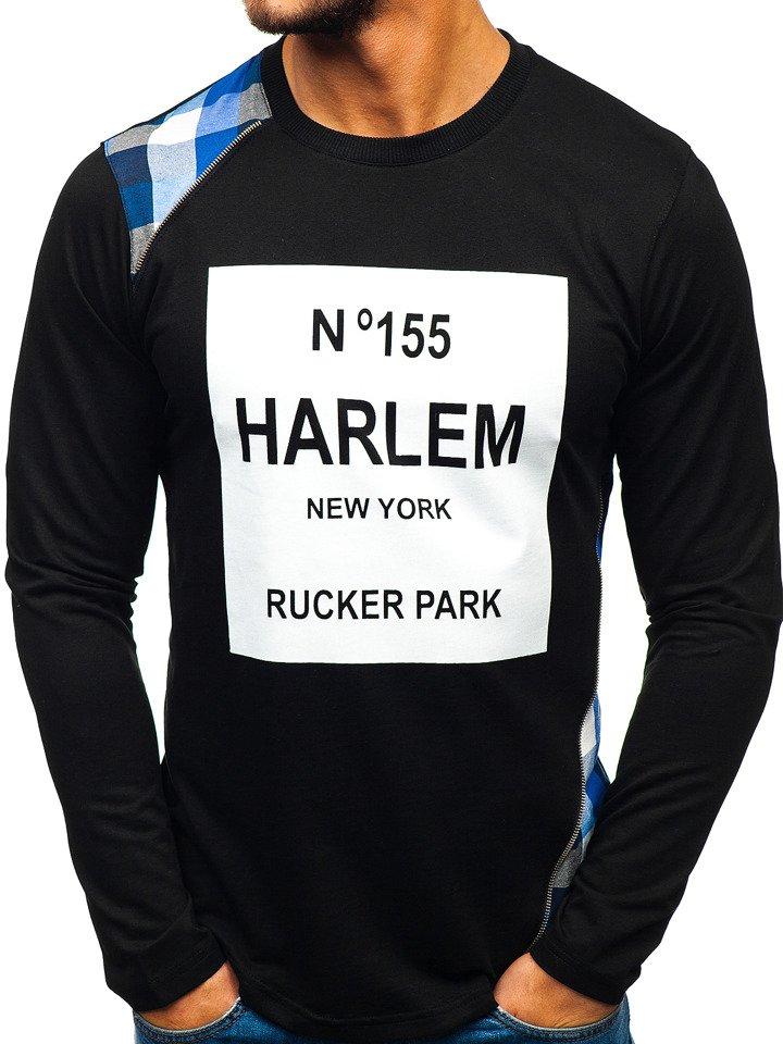 Bluză fără glugă cu imprimeu pentru bărbat neagră-albastră Bolf 0756