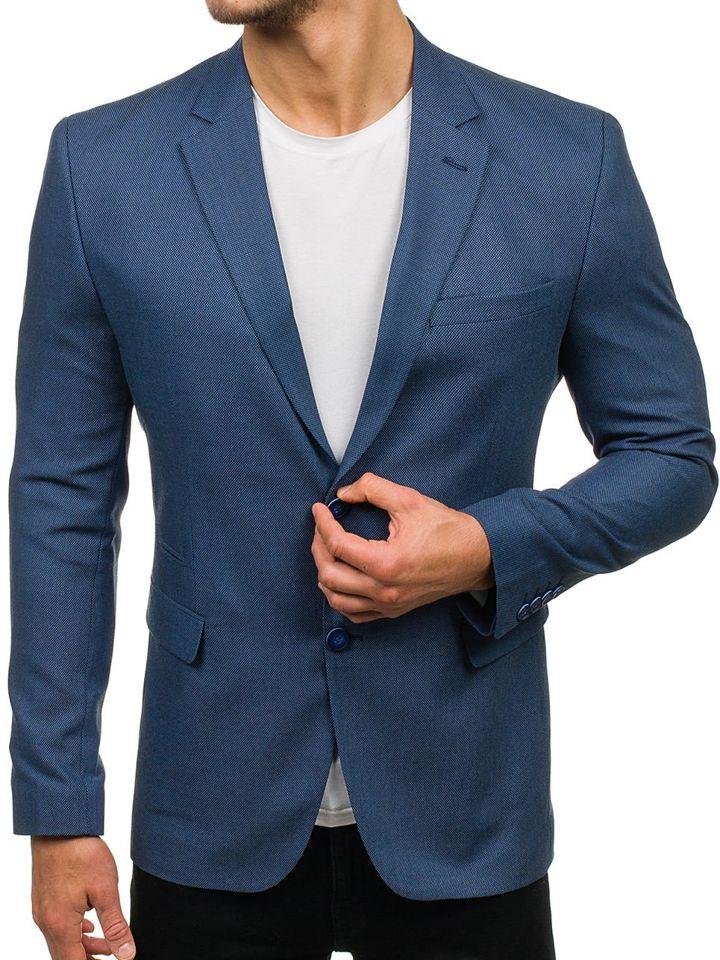 Sacou elegant pentru bărbat albastru Bolf 1050 imagine