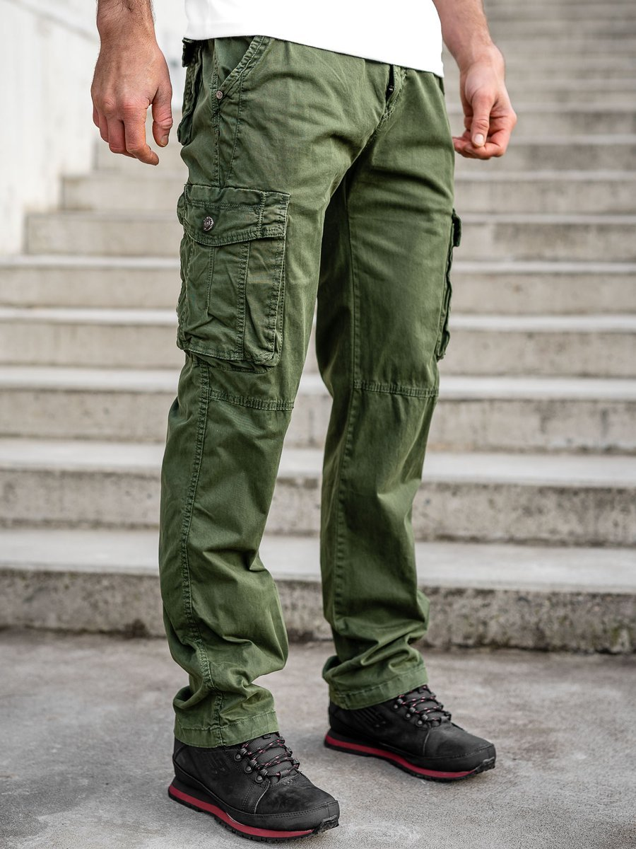 Pantaloni verzi cargo cu curea Bolf CT8906 imagine