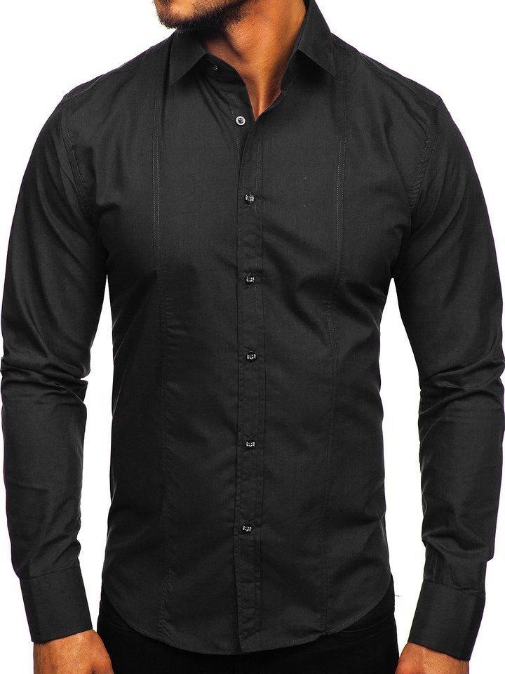 Cămașă elegantă cu mâneca lungă pentru bărbat neagră Bolf 6944