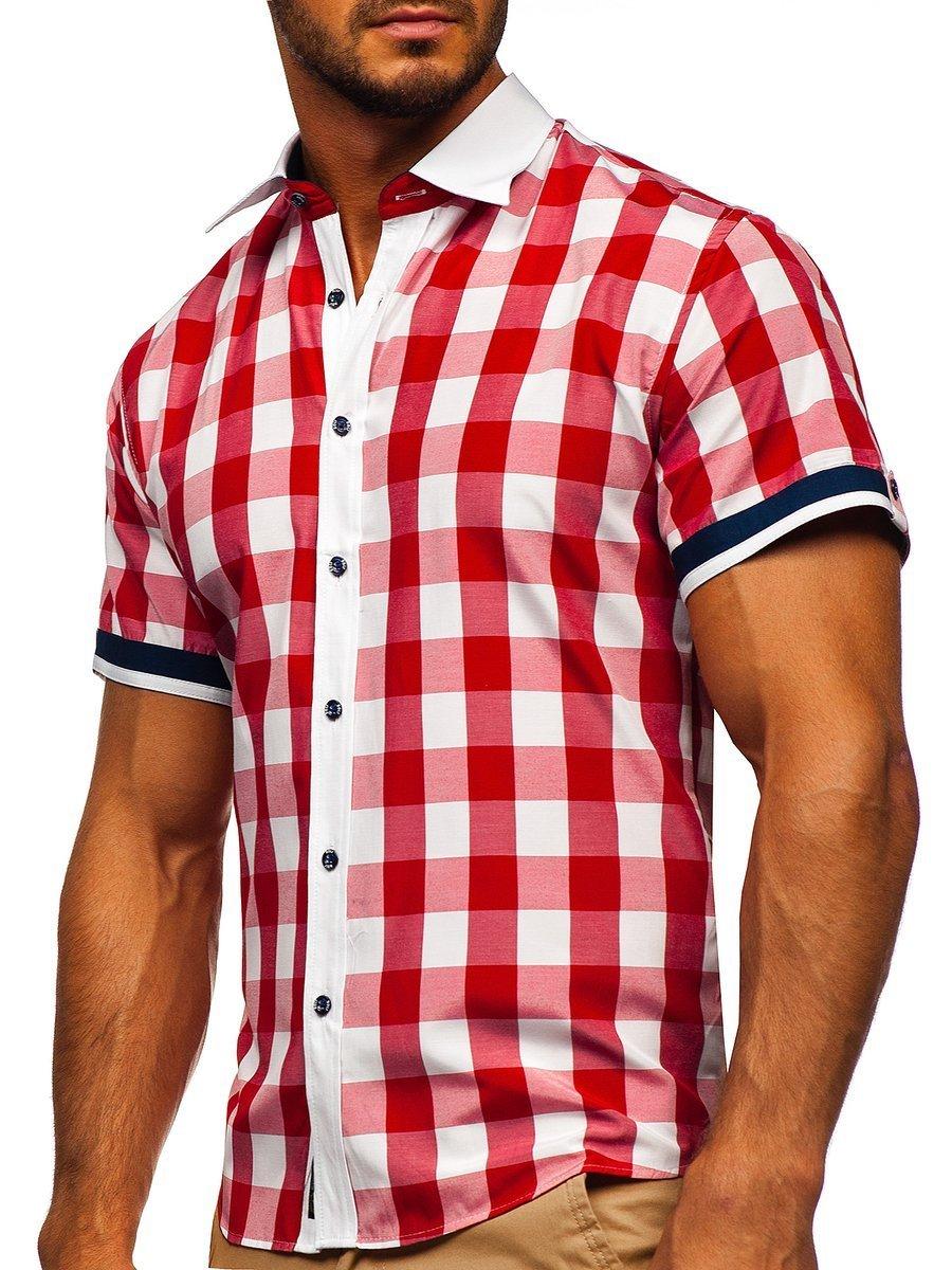 Cămașă elegantă pentru bărbat în carouri cu mâneca scurtă roșie Bolf 8901 imagine