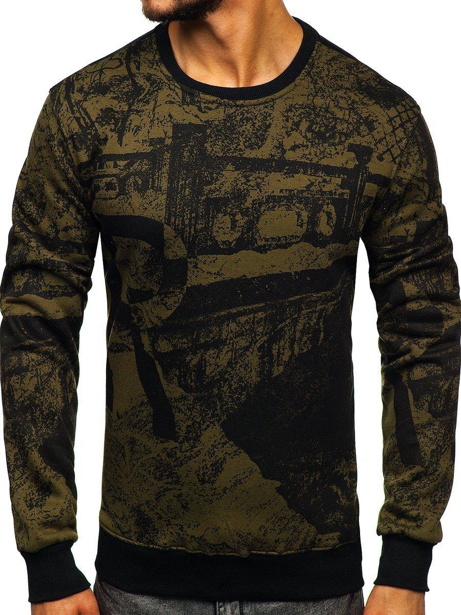 Bluză fără glugă cu imprimeu pentru bărbat verde Bolf DD659