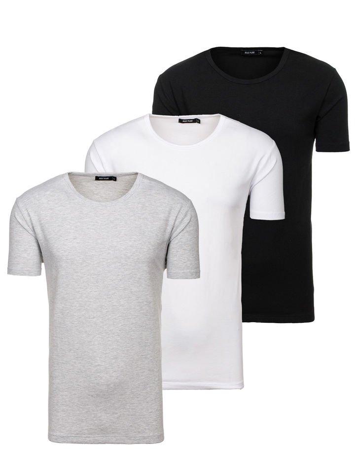T-shirt pentru bărbați fără imprimeu multicolor 3 Pack Bolf 798081-3p