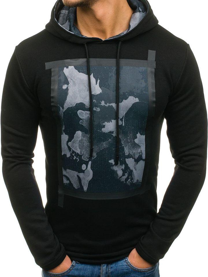 Bluză cu glugă și imprimeu pentru bărbat neagră Bolf 9088