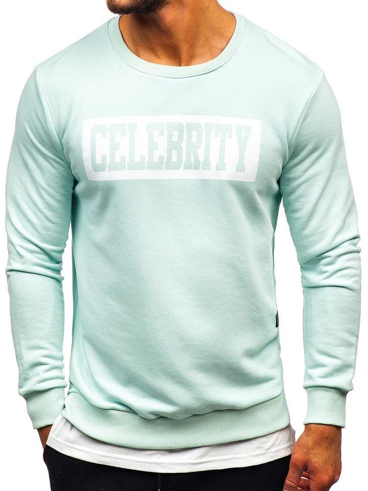 Bluză cu imprimeu bărbați verde-mentă Bolf 11115