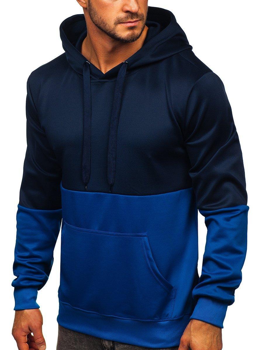 Hanorac albastru cu glugă Bolf JK99109