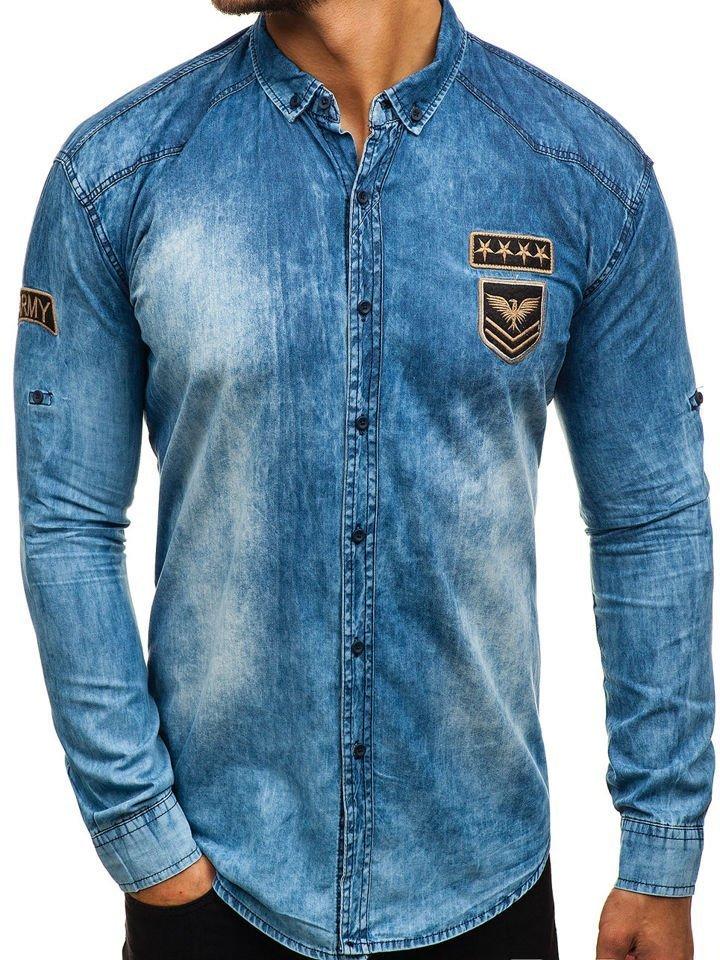 Cămașă denim cu mâneca lungă pentru bărbat albastră Bolf 0992