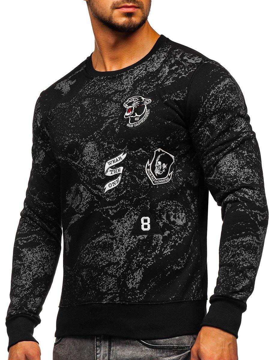Bluză cu imprimeu neagră bărbați Bolf DD116 imagine