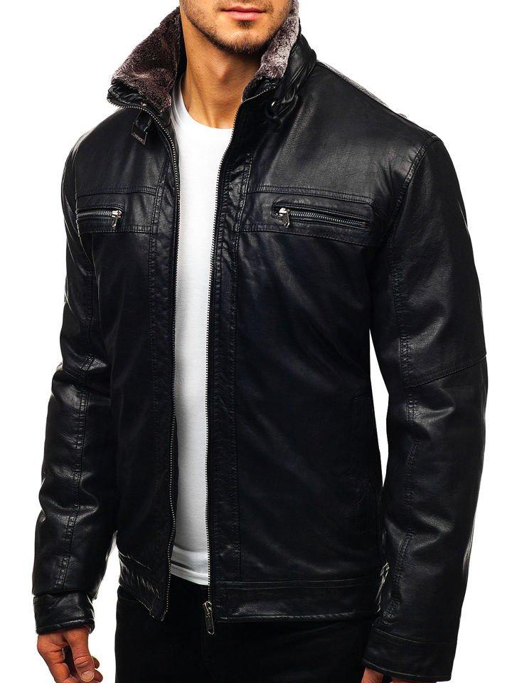Geacă de piele pentru bărbat neagră Bolf EX836 imagine