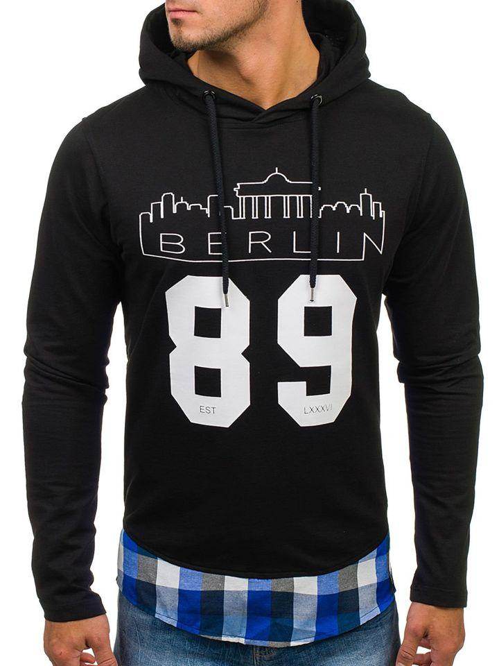 Bluză cu glugă și imprimeu pentru bărbat neagră-albastră Bolf 0786