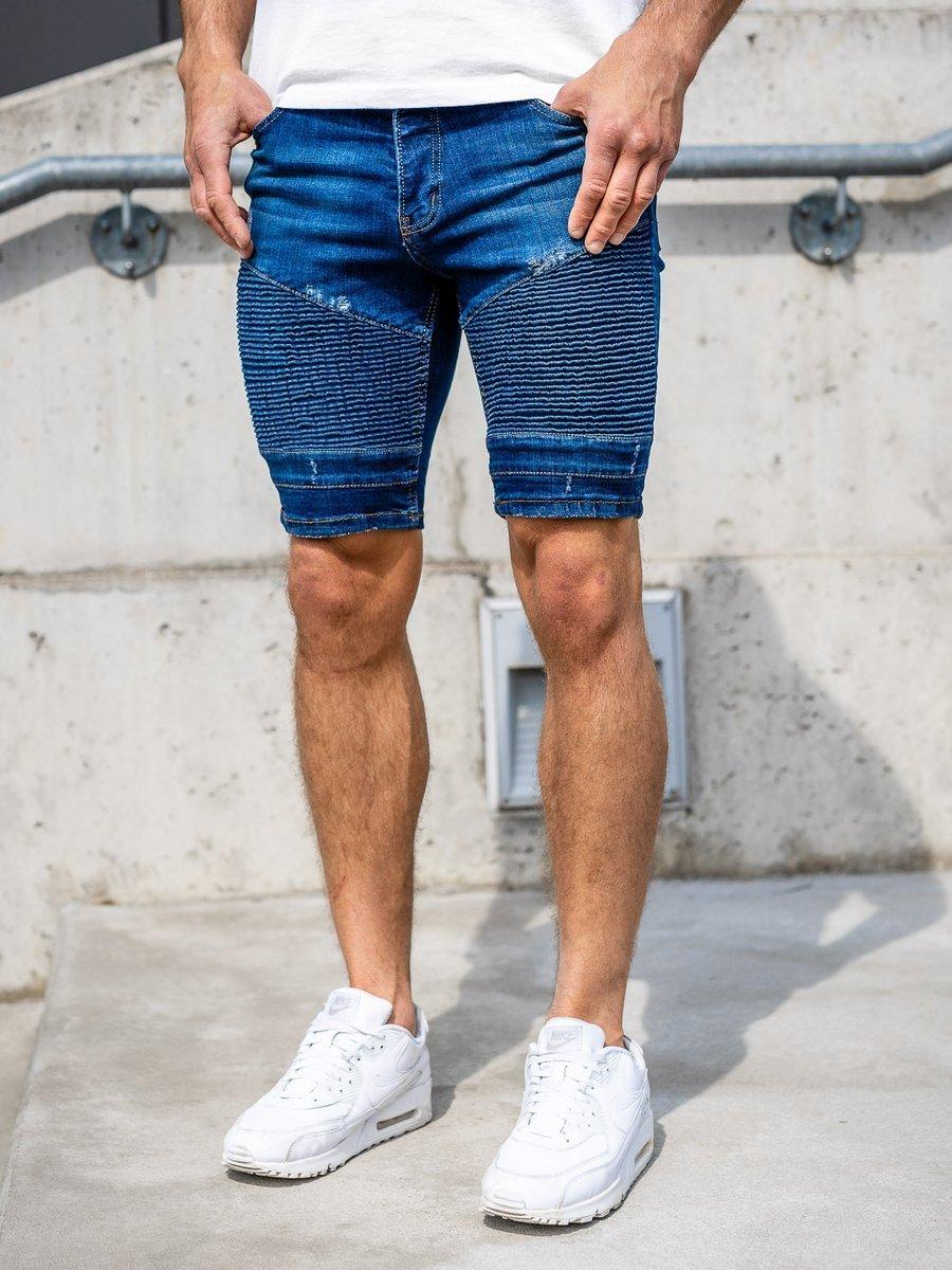 Pantaloni scurți denim bărbați bleumarin Bolf 1058 imagine