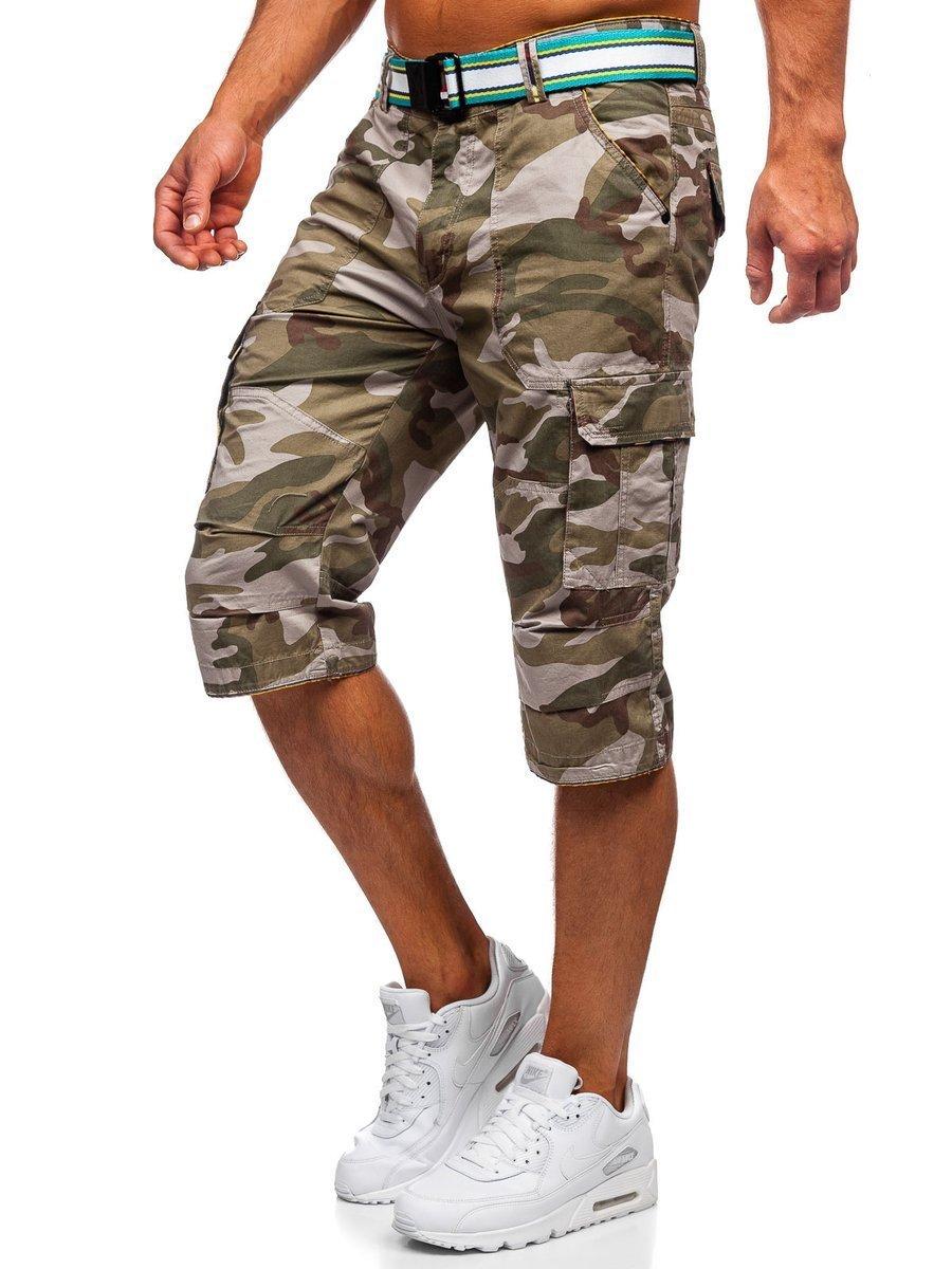 Pantaloni scurți cargo verzi army cu curea Bolf AR5906 imagine