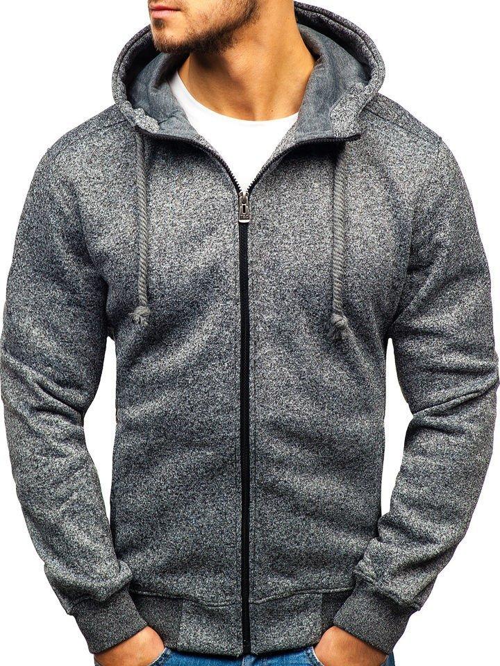 Bluză pentru bărbat cu glugă gri-deschis Bolf TC22-1