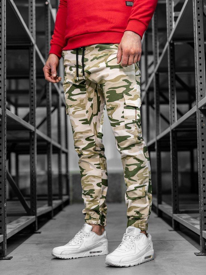 Pantaloni joggers cargo pentru bărbat bej Bolf 0404 imagine