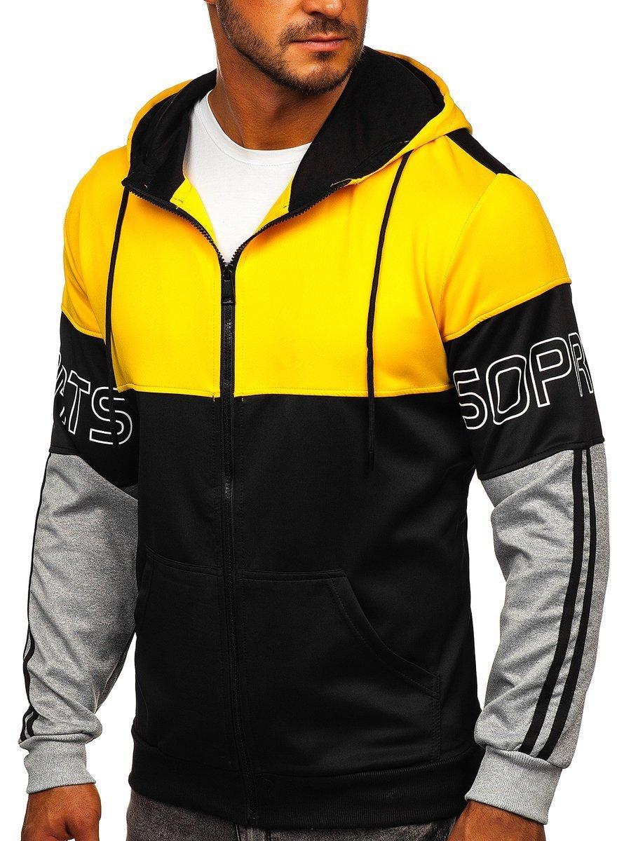 Hanorac cu fermoar bărbați galben-negru Bolf HY752