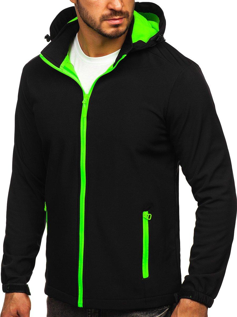 Geacă neagră-verde softshell Bolf HH017 imagine