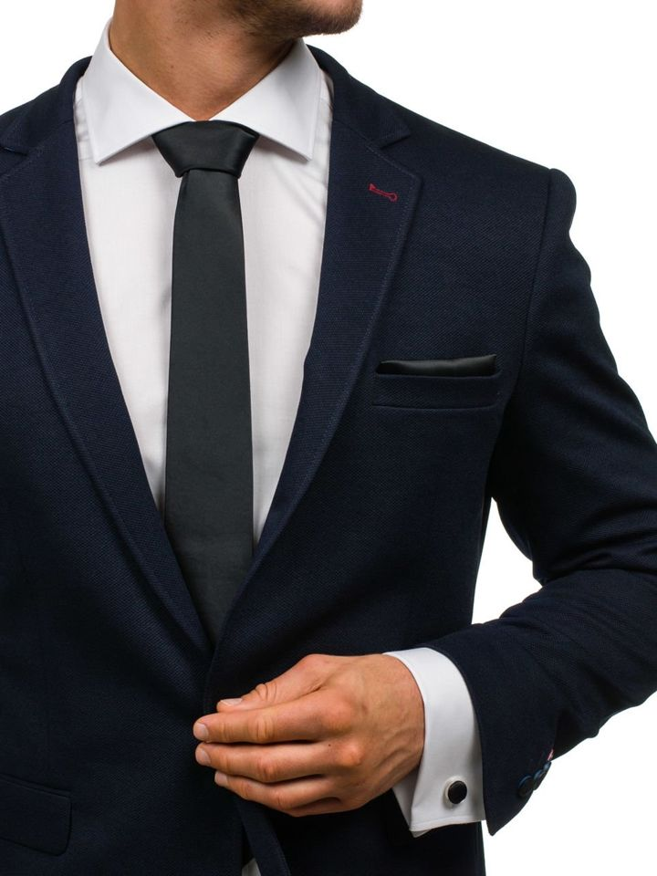 Set pentru bărbat cravată, butoni, batistă negru Bolf KSP01 imagine