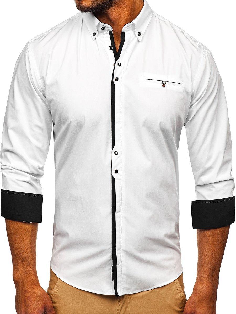 Cămașă elegantă pentru bărbat cu mâneca lungă albă Bolf 7720