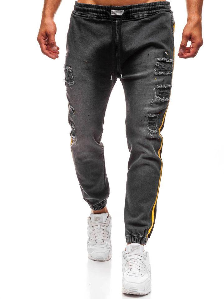 Jeanși baggy pentru bărbat gri-deschis Bolf 2041