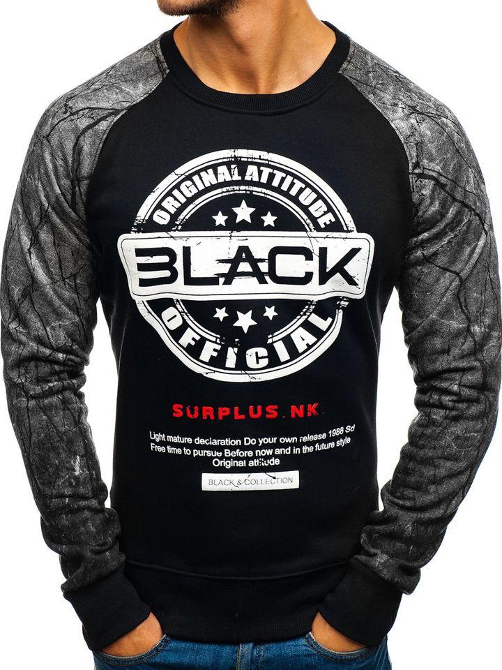 Bluză fără glugă pentru bărbat cu imprimeu negru-gri Bolf DD258