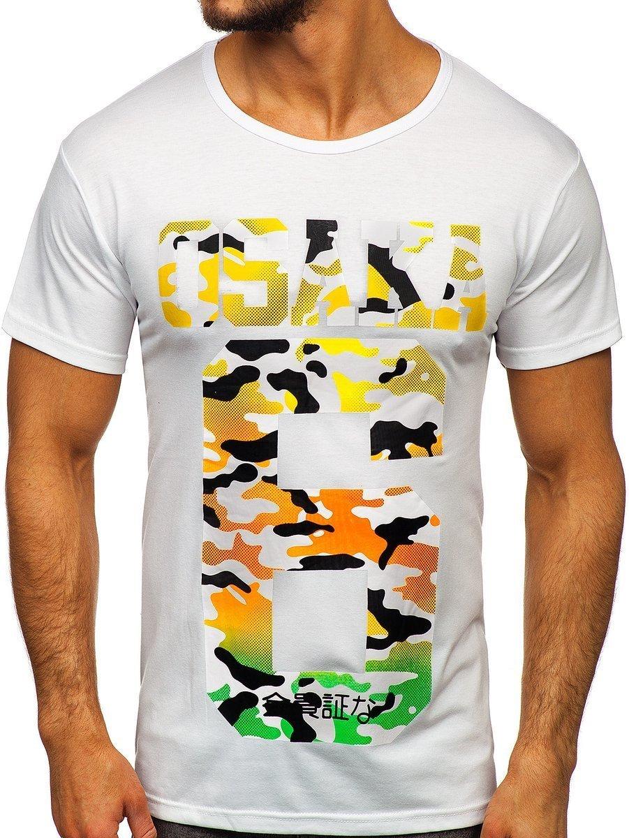Tricou cu imprimeu bărbați alb Bolf KS1958 imagine