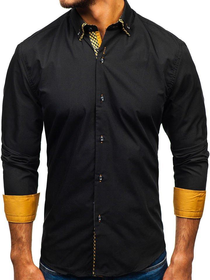 Cămașă elegantă pentru bărbat cu mâneca lungă neagră-maro Bolf 4708 imagine