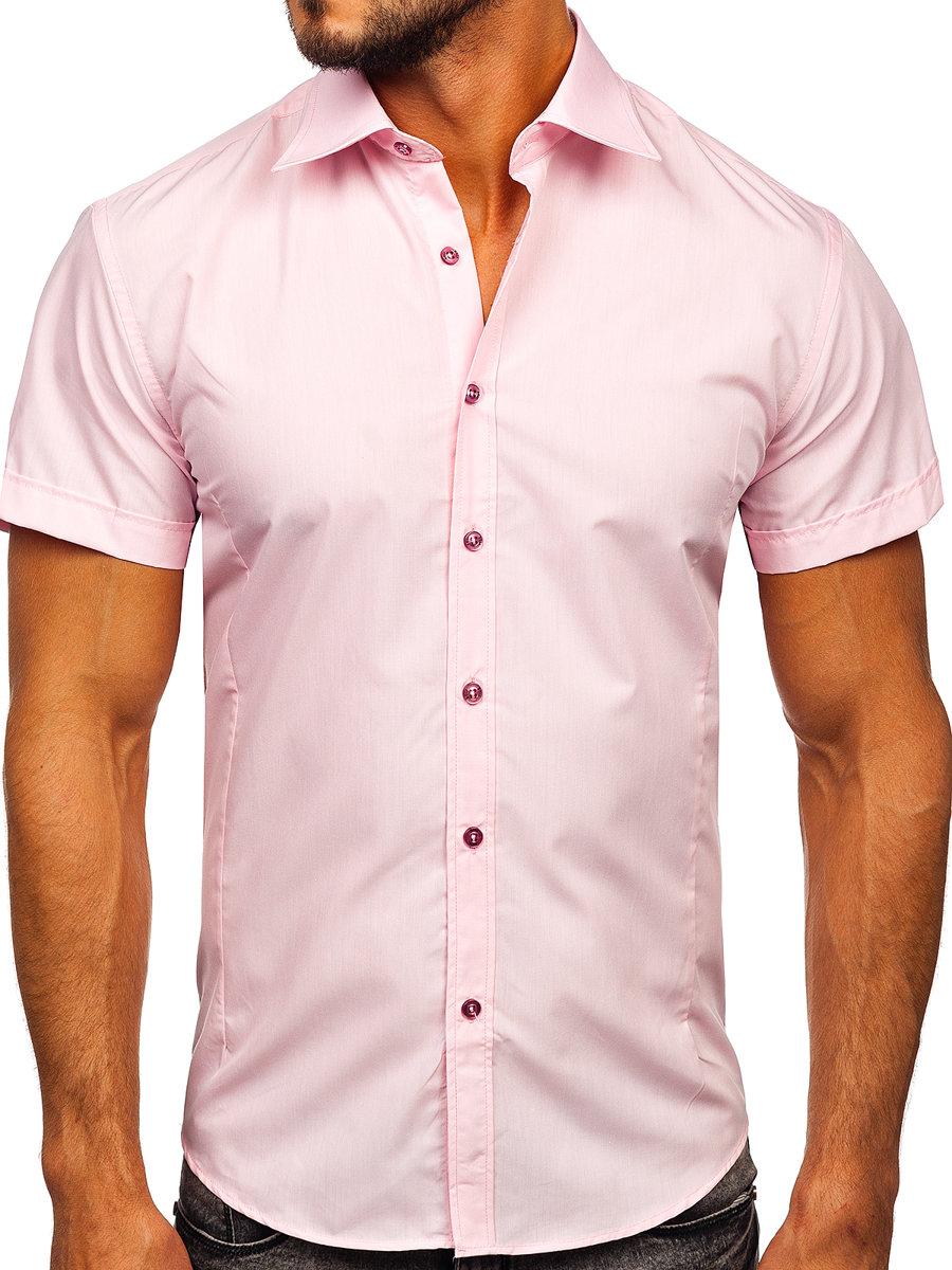 Cămașă elegantă cu mâneca scurtă pentru bărbat roz Bolf 7501 imagine