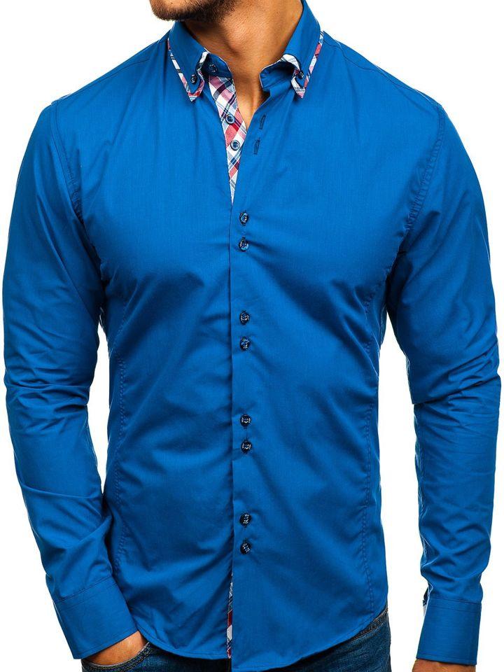 Cămașă elegantă pentru bărbat cu mâneca lungă albastră Bolf 4704-1