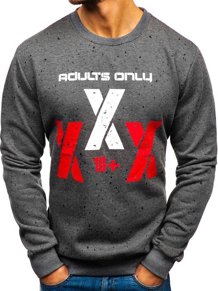 Bluză fără glugă cu imprimeu pentru bărbat grafit Bolf TX17