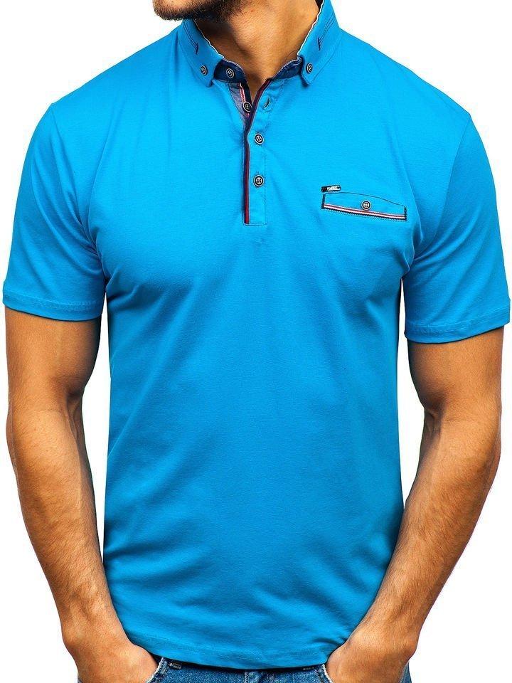 Tricou polo bărbați albastru Bolf 192037 imagine