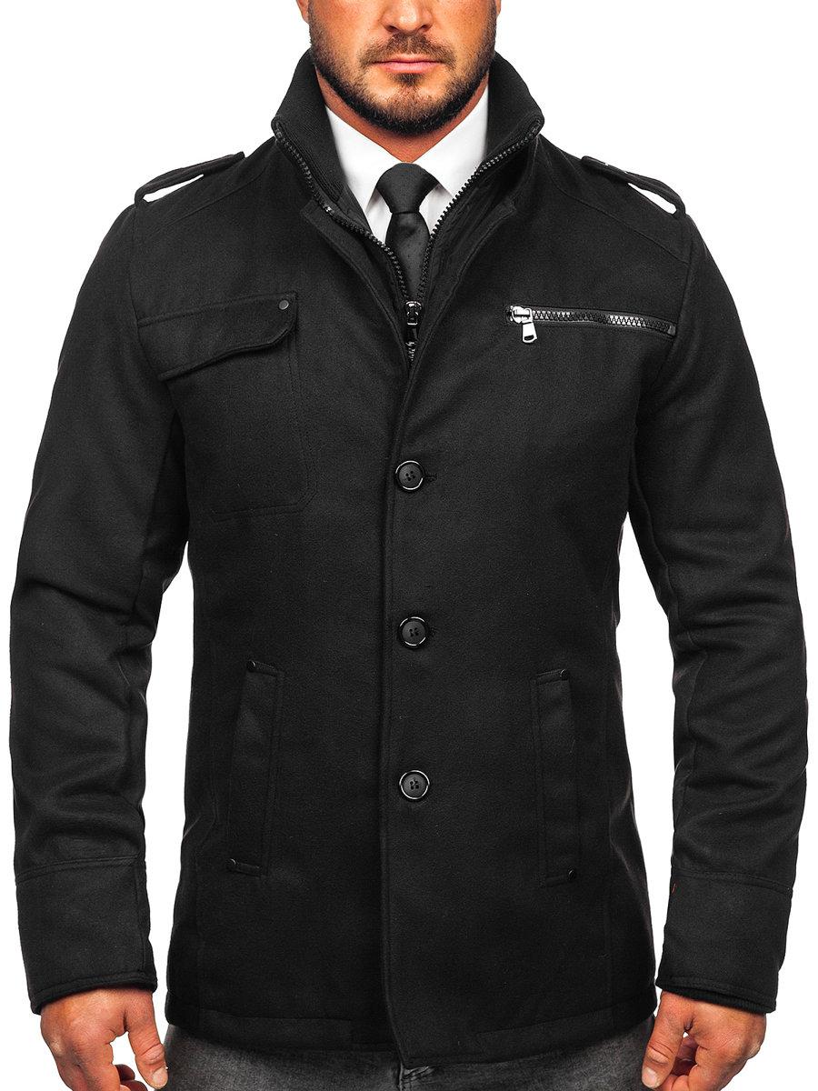 Palton pentru bărbat negru Bolf 8856