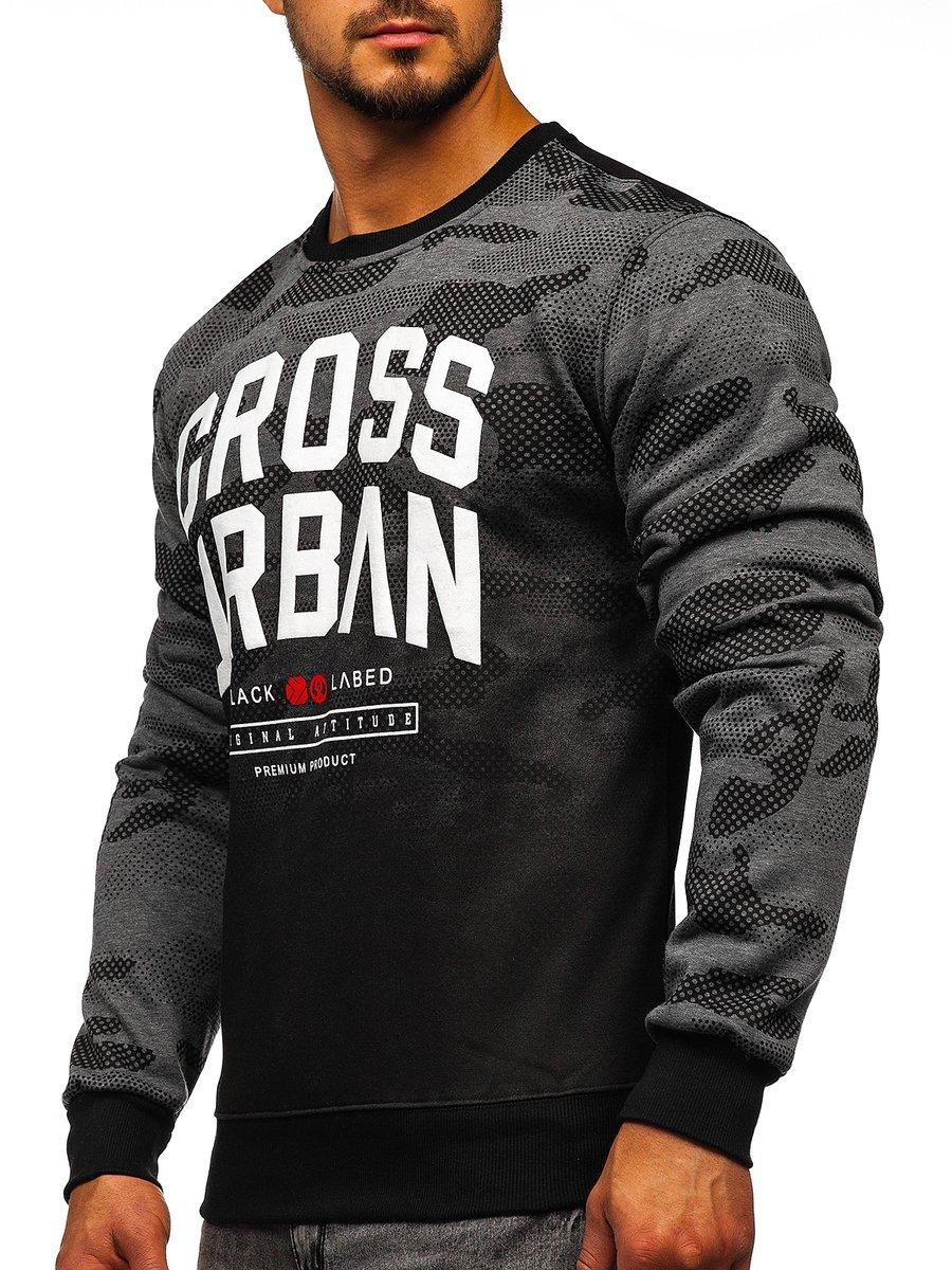 Bluză pentru bărbat fără glugă cu imprimeu grafit Bolf DD157 imagine